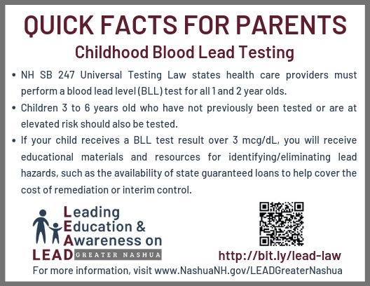 NH SB247 Lead Testing Law Quick Facts Sheet for Parents