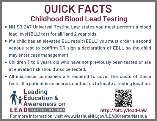 NH SB247 Lead Testing Law Quick Facts for Health Care Providers