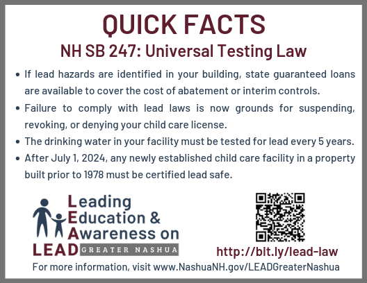 NH SB247 Lead Testing Law Quick Facts for Facilities