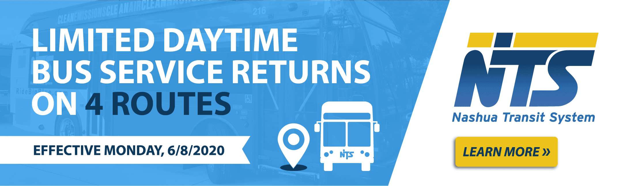 Limited Daytime bus service returns on 4 routes. Effective 6/8/2020