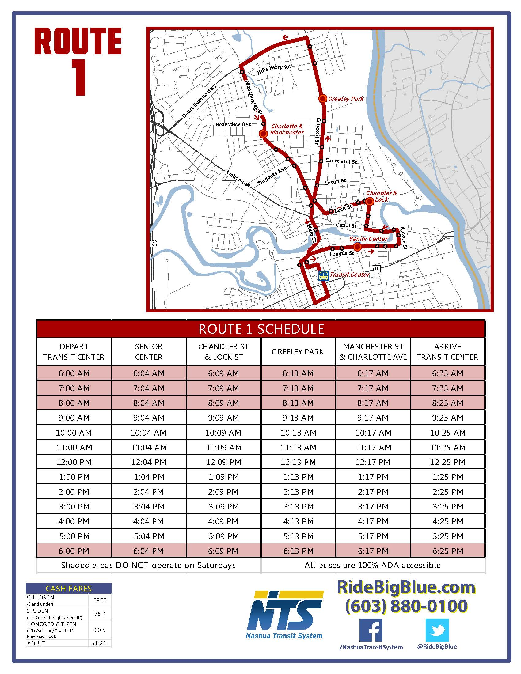 Route 1 Map & Schedule