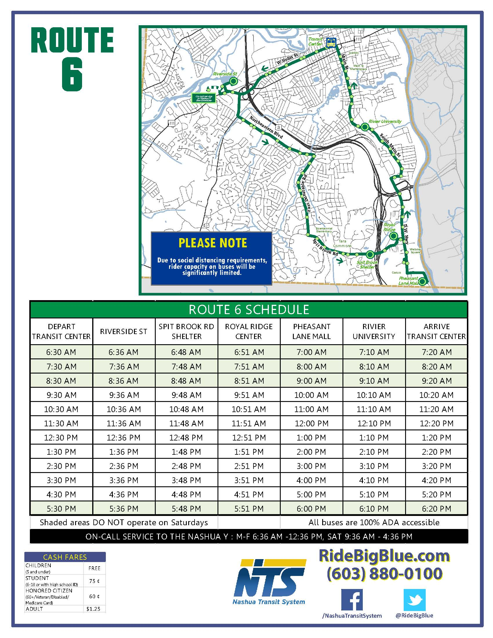 Route 6 Map & Schedule