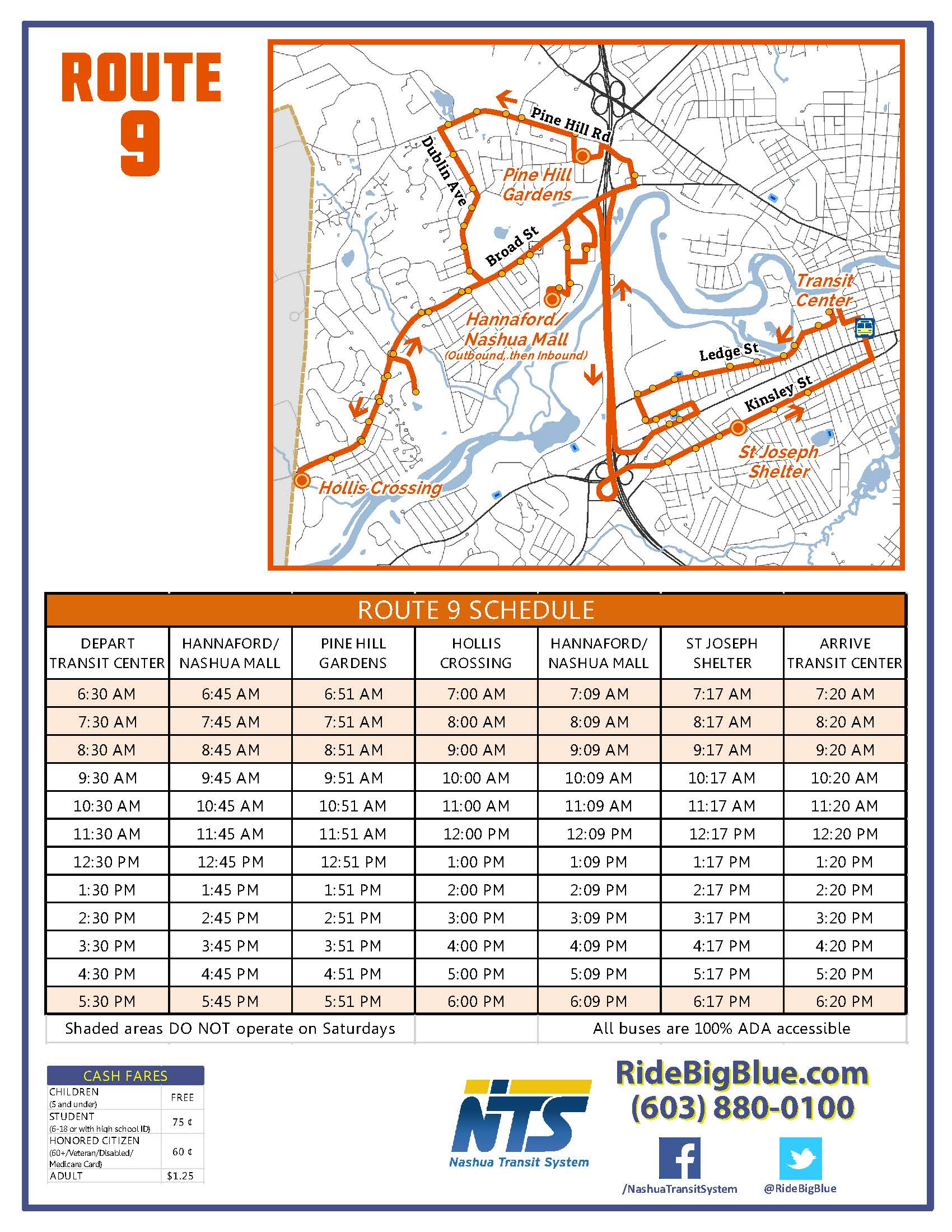 Route 9 Map & Schedule