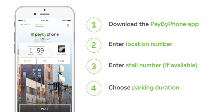 PayByPhone Instructions. 1. Download the app. 2. Enter location number. 3. Enter stall number (if av